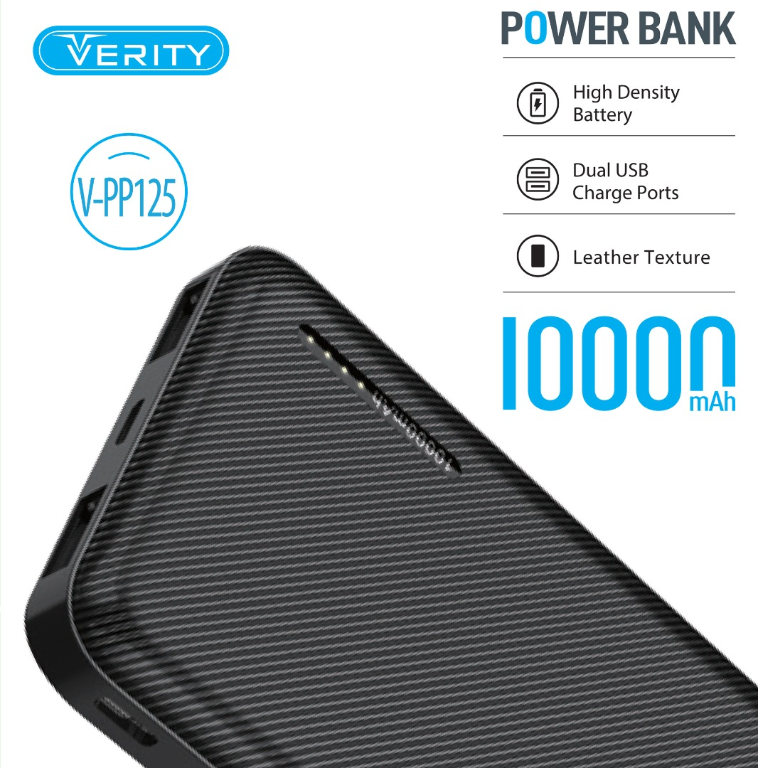 تصویر پاوربانک (شارژر همراه) وریتی مدل VERITY V-PP-125 ظرفیت 10000 میلی آمپرساعت VERITY V-PP-125 10000mAh PowerBank
