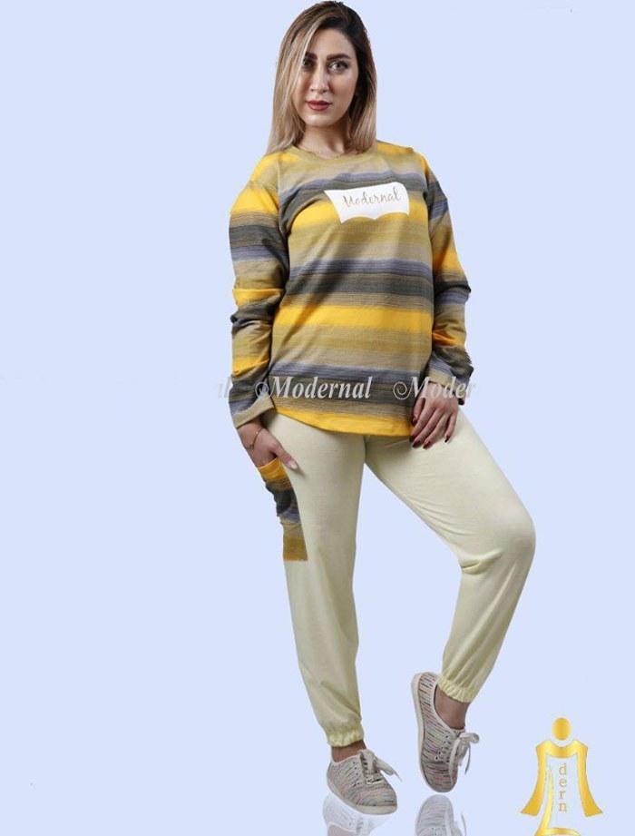 تصویر ست بلوز شلوار زنانه مدل رینگر زرد