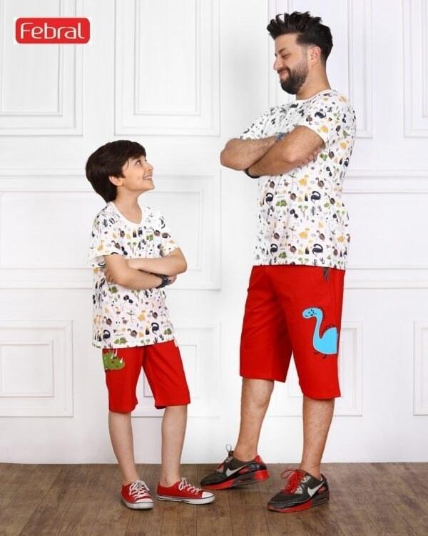 تصویر ست تی شرت و شلوارک راحتی پسرانه مادر مدل راکسی- قرمز