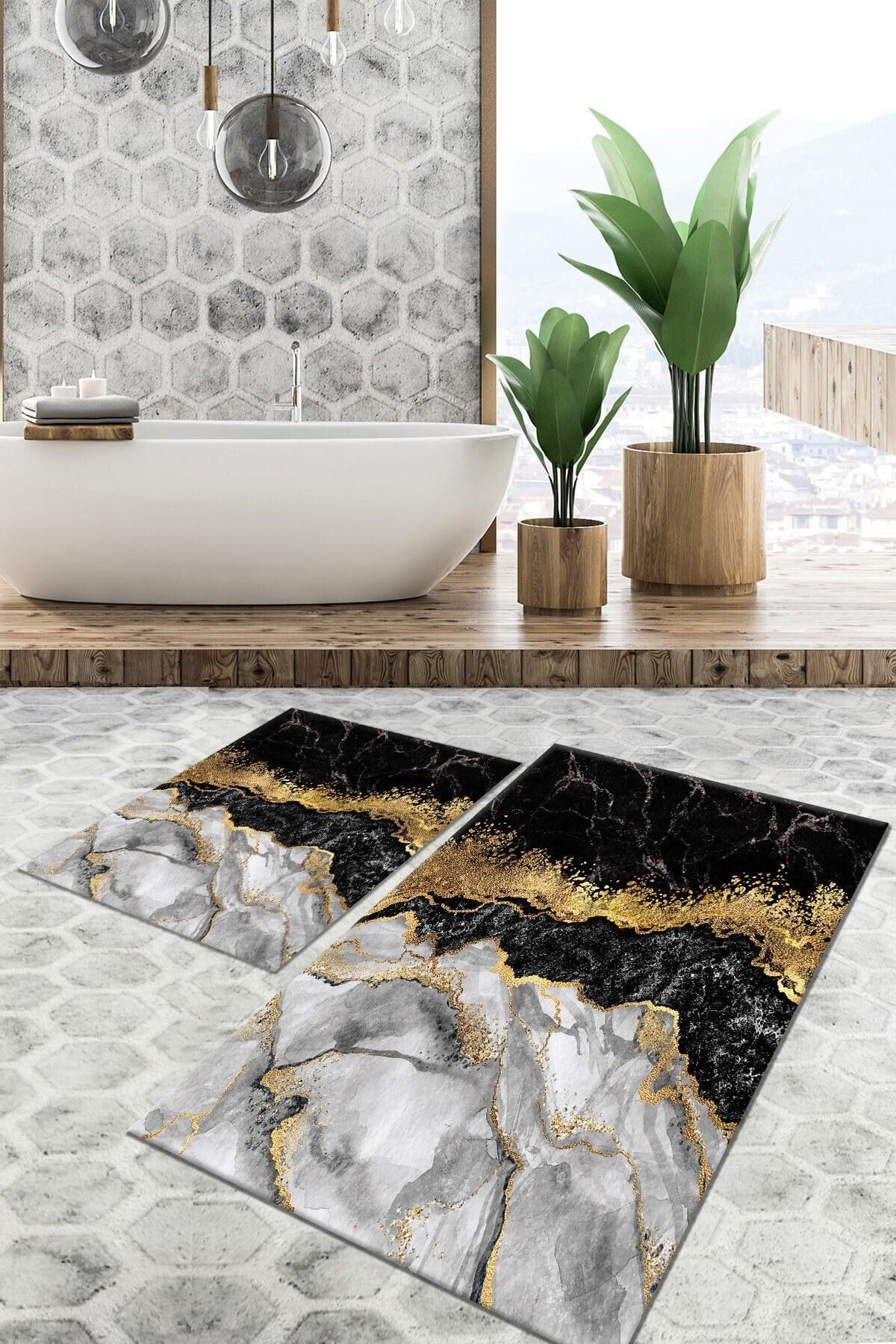 تصویر زیرپایی حمام لژدار قابل شستشو لیز نمیخورد ضد باکتری 60x100cm 50x60cm برند Tulip Dekorativ Halı کد 1628857530