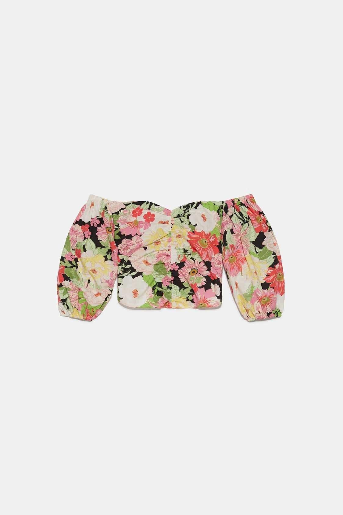 تصویر بلوز نیم تنه زنانه گل گلی زارا کد: Çokrenkli - 2788256