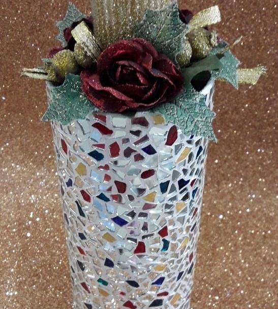 گلدان استوانه ای آینه کاری شده کد 105