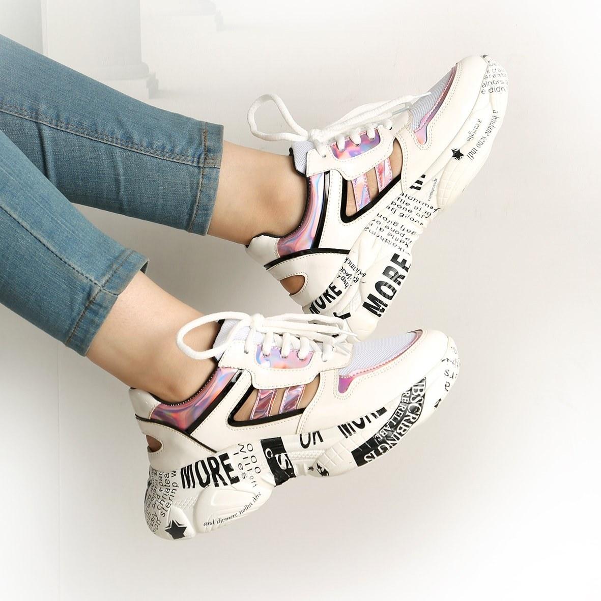 کفش زنانه اسپرت 2 خط روزنامه سفید | Newspaper 2 White Line Women's Sport Shoes