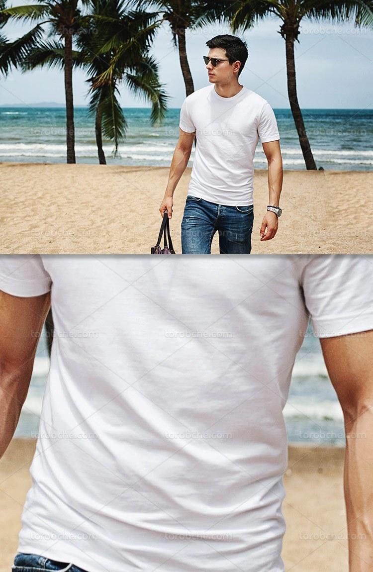 موکاپ تیشرت سفید مردانه