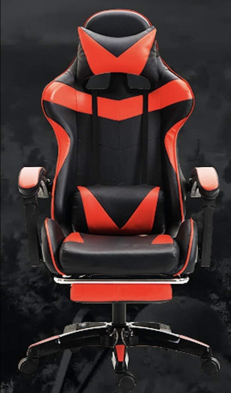 تصویر صندلی گیمینگ YALLA OFFICE Gaming Chair-808-RED-FR YALLA OFFICE Gaming Chair - PC Computer Chair for Gaming, for Office, for Students -Ergonomic Lumbar Back Support Pain Relief (Black & Red with Footrest)