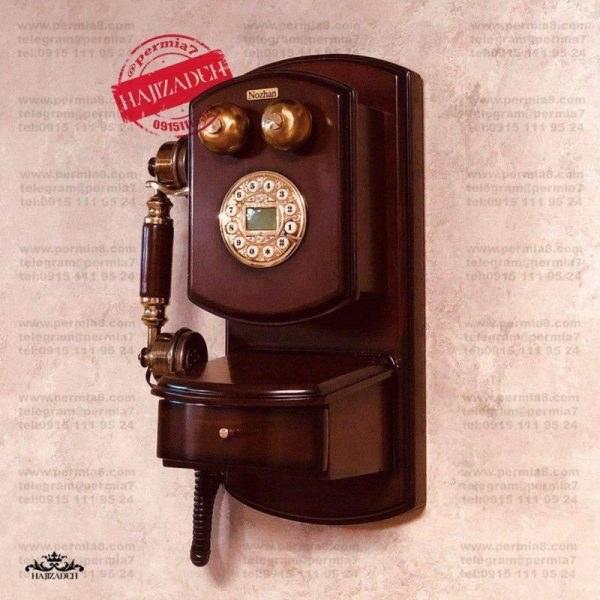 تصویر تکنیکال تلفن دیواری نوژان کشو دار کوچک قهوه ای  1033