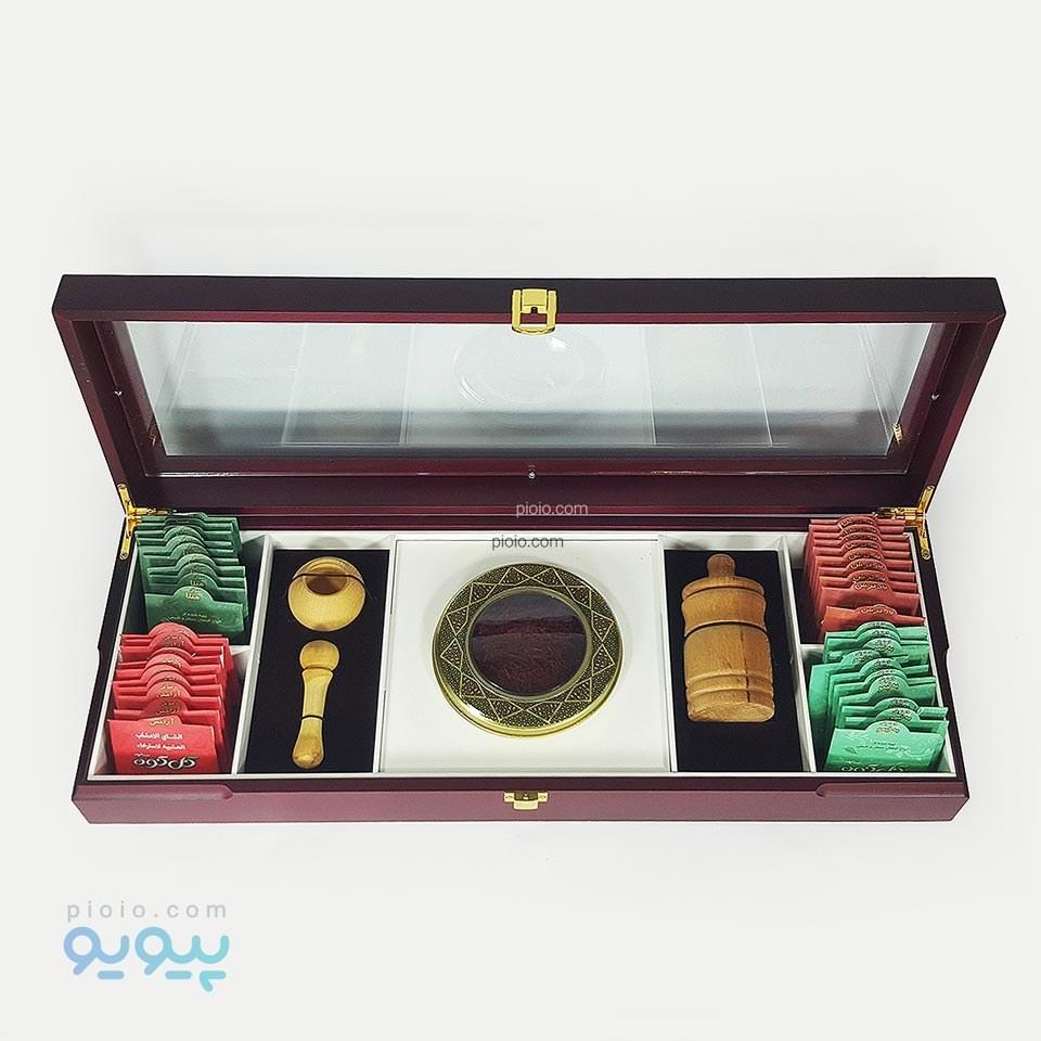 جعبه کادویی زعفران پکیج لوکس چوبی