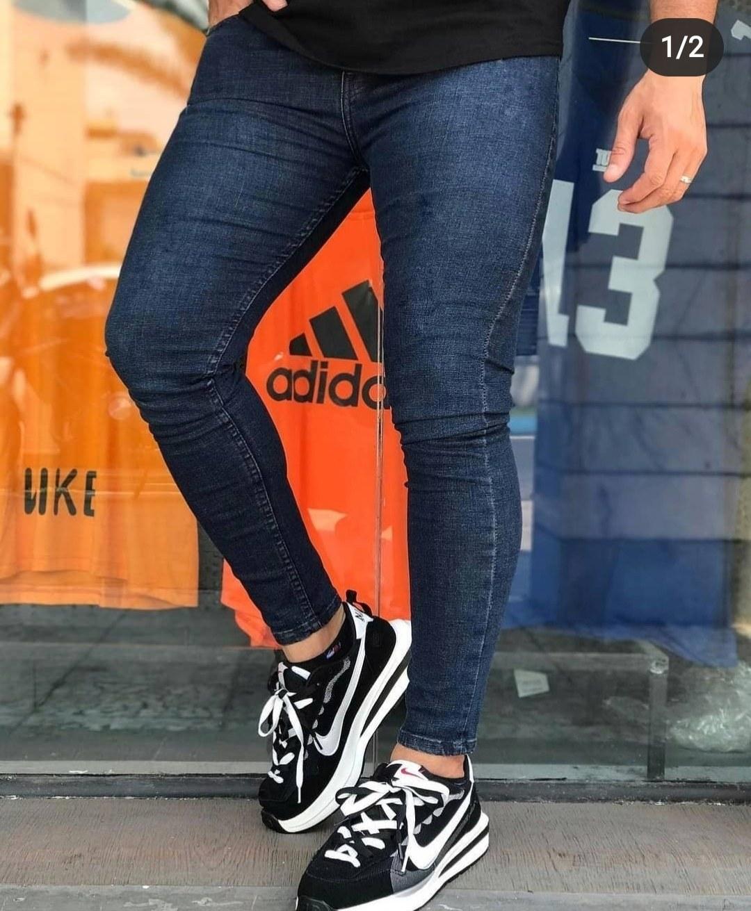 تصویر شلوار جین سرمه ای بدون زاپ جدید درجه یک - 34