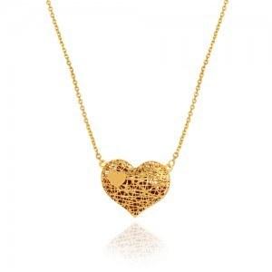 گردنبند طلا زنانه طرح عشق ولنتاین کد cn371 | گردنبند طرح قلب فیوژن با سنگ های قرمز داخل آن و یک قلب کوچک روی آن از کالکشن ولنتاین