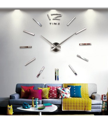 ساعت دیواری طرح تایم (نقره ای) |