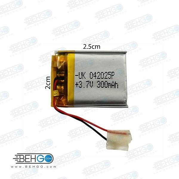 تصویر باتری هدفون بلوتوث لیتیومی تک سل 3.7V 300mAh دارای برد محافظ باطری کیفیت بالا 042025P 3.7v 300mah high quality battery