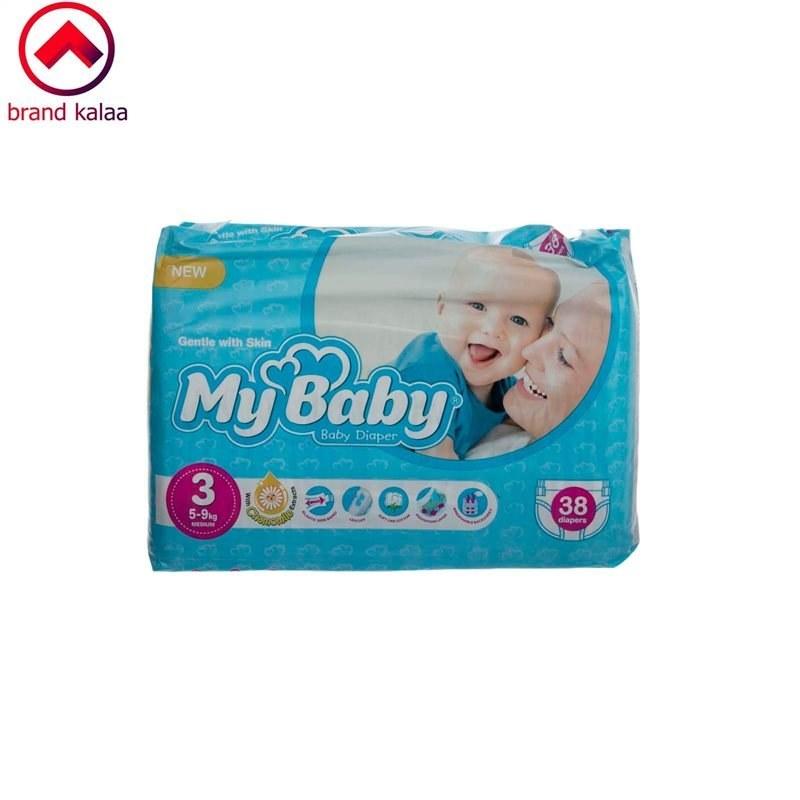 تصویر پوشک مای بیبی آبی سری مهربان با پوست سایز 3 بسته 38 عددی My Baby echo Gentle with Skin Diaper Size 3 Pack of 38
