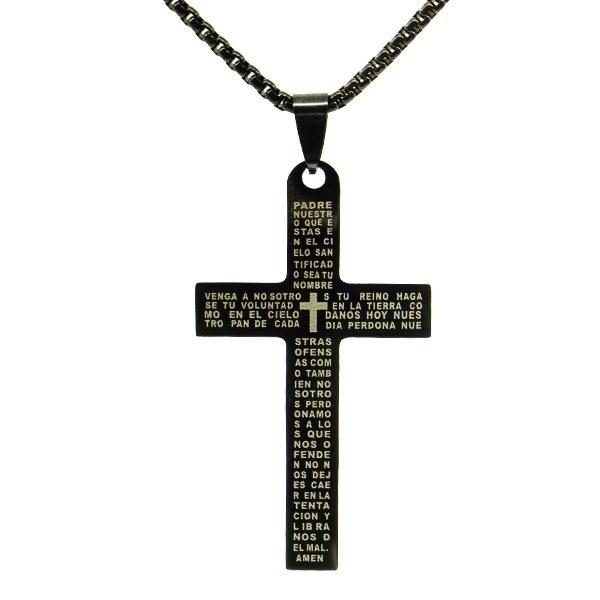 تصویر گردنبند صلیب مشکی کد c101