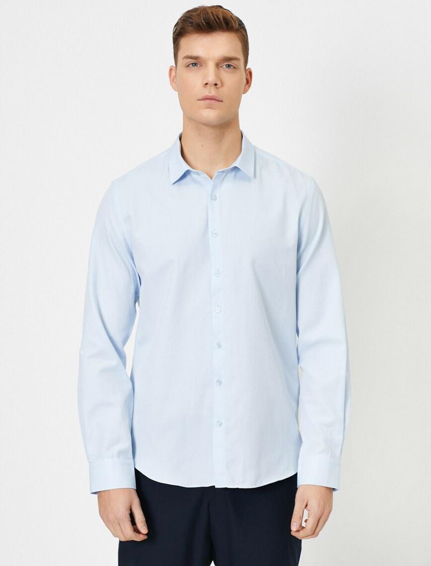 تصویر پیراهن ساده جذب آستین بلند مردانه