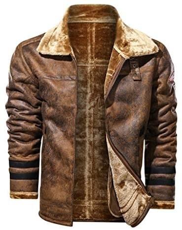 کت چرمی مردانه Mousmile - تهیه شده از پشم گوشفند نرم و چرم مصنوعی با کیفیت بسیار بالا ضد آب و جلوگیری از نفوذ سرما به بدن