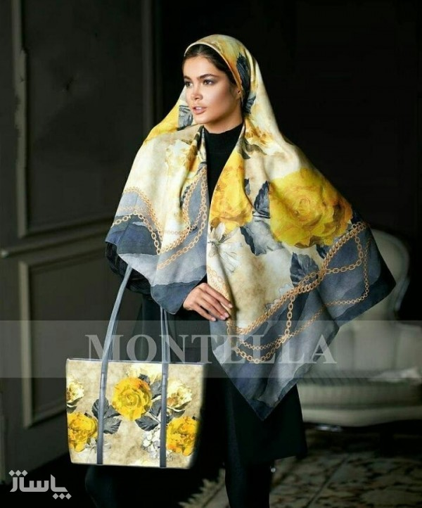 تصویر کیف روسری طوسی زرد