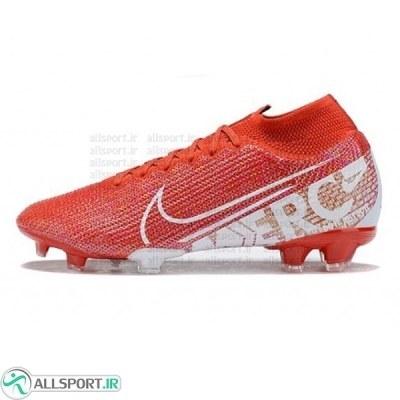 کفش فوتبال نایک مرکوریال سوپرفلای ساقدار طرح اصلی قرمز سفید Nike Mercurial Superfly VII Elite FG Red White