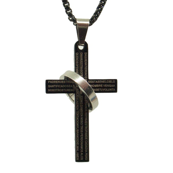 تصویر گردنبند صلیب مشکی کد s23