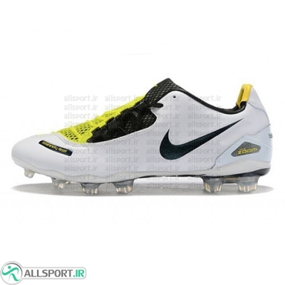 کفش فوتبال نایک لیسر طرح اصلی سفید زرد Nike T90 Laser I SE FG White Black Yellow