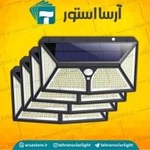 تصویر پک 4 عددی چراغ خورشیدی دیواری با سه حالت نوردهی