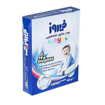 پودر صابون لباسشویی کودک فیروز مدل 4 Anzymes مقدار 400 گرم به همراه یک زیر انداز تعویض