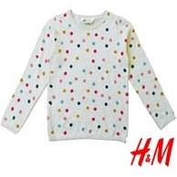تصویر بلوز بافت ریز دخترانه رنگ طوسی طرح خال خال مارک H&M