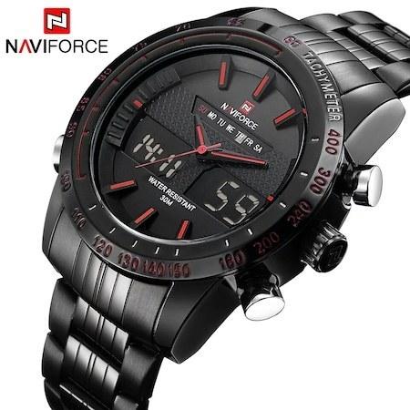 ساعت مچی مردانه فولادی مشکیNaviForce NF9024