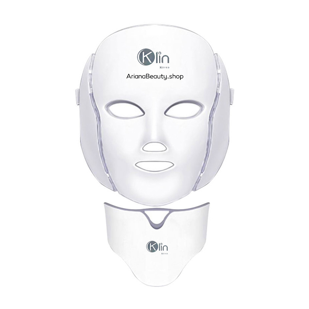 تصویر ماسک ال ای دی صورت و گردن کلین مدل LM 7 7Colors Photon Electric LED Facial Mask Neck Skin Rejuvenation Massager
