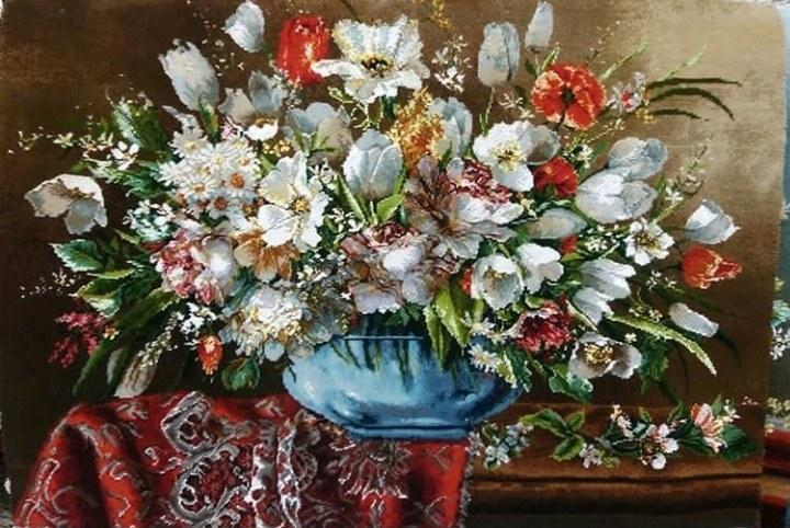 تصویر تابلو فرش برجسته دستبافت ابریشمی طرح گلدان بلوری کد ۱۰۱۳۲۰