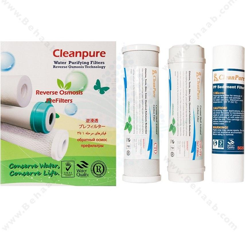 تصویر پک 3 عددی فیلتر تصفیه آب کلین پیور PP UDF CTO Water Filter Clean Pure