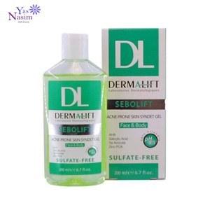 تصویر ژل پاک کننده پوست چرب و جوش دار درمالیفت Dermalift Sebolift Acne Prone Skin Syndet Gel 200 ml