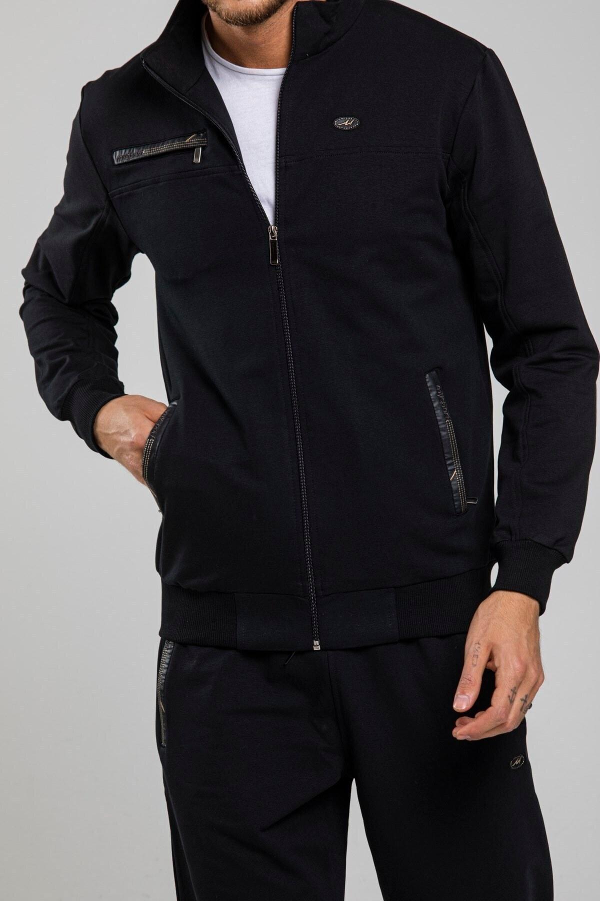 تصویر ست لباس ورزشی سایز بزرگ مردانه مشکی برند MYSPORT کد 1623224064