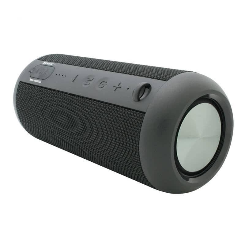 تصویر اسپیکر بلوتوثی قابل حمل تسکو مدل TS 2303 طراحی استوانهای، اتصال بیسیم بلوتوث 5.0، باسیم AUX، کارت حافظه TF، پورت USB، ضد آب IPX6، صدای قدرتمند استریو با توان اسمی 1400 وات