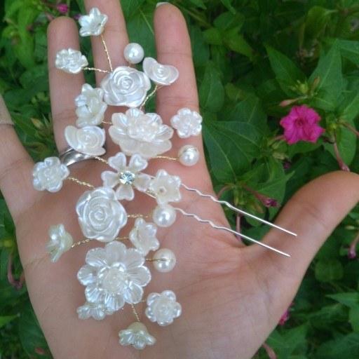 گل سر مرواریدی دست ساز کد 8 |