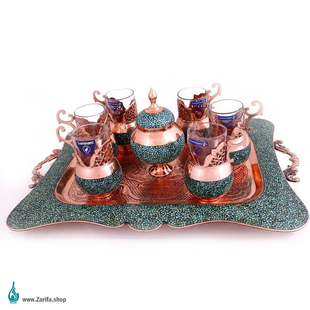 تصویر سرویس چای خوری فیروزه کوب – مس و فیروزه نیشابور ۸ پارچه
