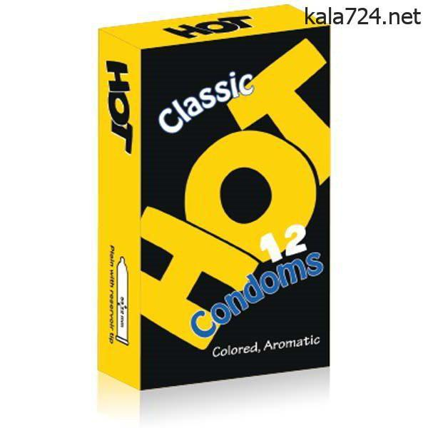 کاندوم هات مدل CLASSIC زرد بسته 12 عددی