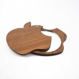 تصویر آینه جیبی چوبی مدل سیب