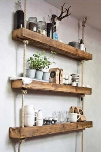 تصویر قفسه و شلف دیواری چوبی