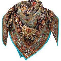 روسری زنانه بلالوک طرح فرش گل و مرغ کد 036
