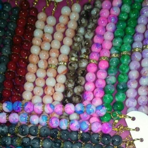 دستبند مروارید رنگی