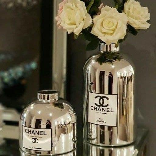 تصویر کد 6-378   گلدان چنل نقره ای و طلایی