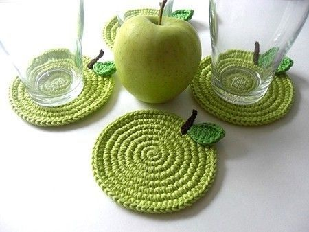 تصویر زیرلیوانی طرح سیب بسته 4عددی