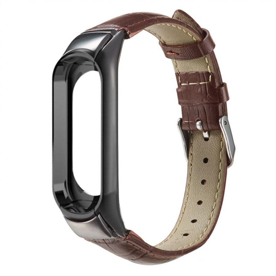 تصویر بند چرمی میبند مدل Crocodile Leather مناسب برای Mi Band 3 / Mi Band 4