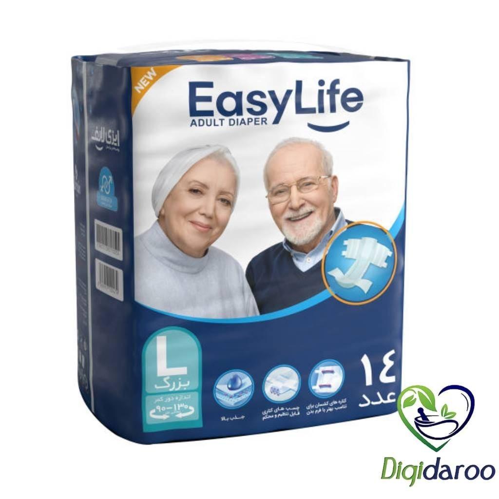 تصویر پوشک بزرگسال ایزی لایف سایز بزرگ بسته 14 عددی ا Easy Life Large Adult Protective Diaper 14 pcs Easy Life Large Adult Protective Diaper 14 pcs