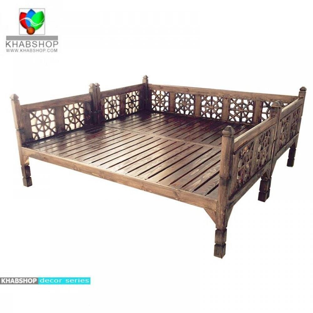 تصویر تخت چوبی سنتی 200*200 کد CH15