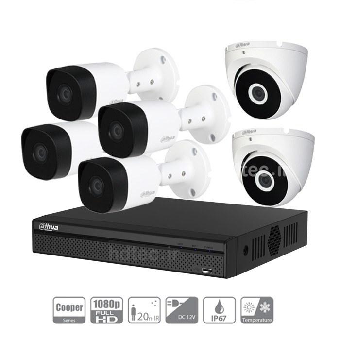 تصویر پکیج شش دوربین مداربسته داهوا B2-T2A21P Dahua 8ch and 6 Number Camera Package 2MP 1080P