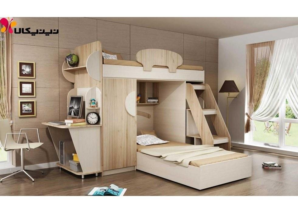 تخت دو طبقه کودک آمیسا مدل هیلدا |