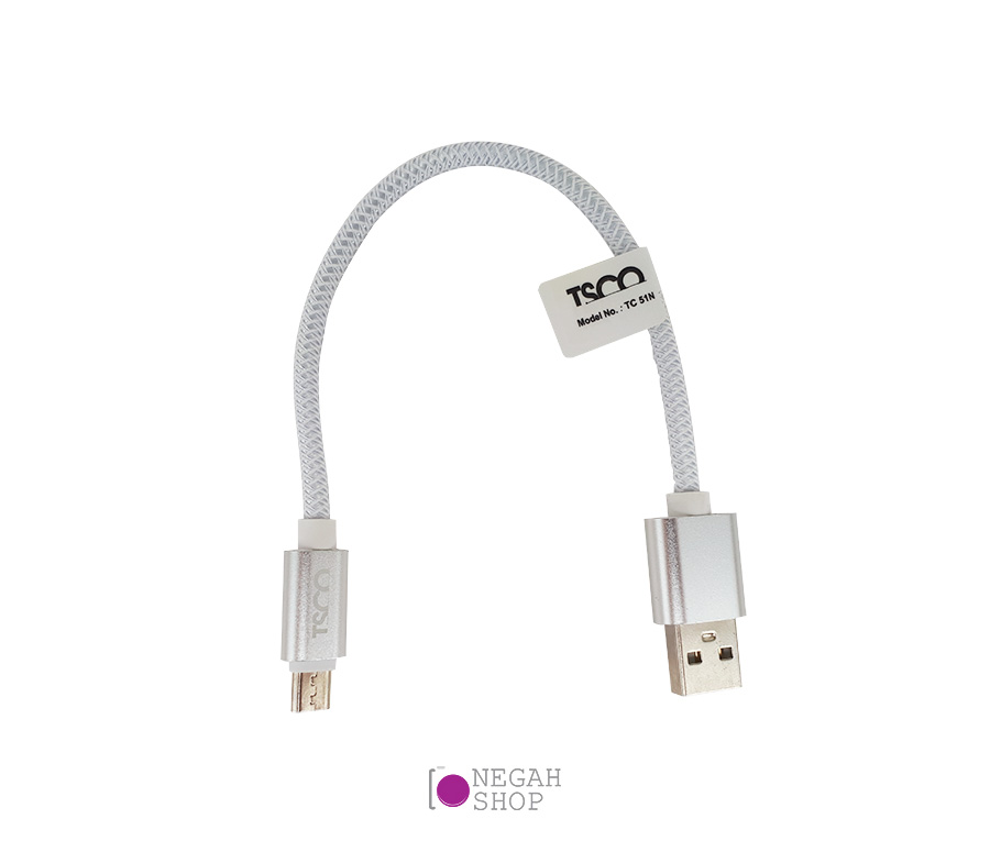 main images کابل کنفی پاوربانک Tsco TC51 Micro USB 20cm رنگ سفید