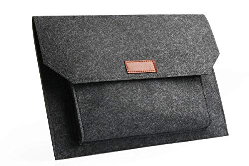 "[New Upgrade] Felt Laptop Envelope Sleeve -ABRONDA 13.3-Inch Felt Expandable Large Space Case Protective Bag for MacBook Pro/Air/Retina 13""/iPad Pro Chromebook and More 13-13.3"" Laptops- Dark Gray"