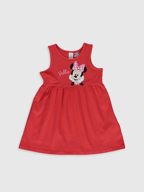 تصویر پیراهن دخترانه (نوزادی)زرشکی رنگ طرح میکی ماوس دار السی وایکیکی کد : ۰S2468Z1 - H1B - Narçiçeği
